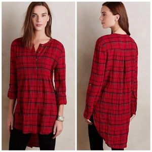 Holding Horses Plaid Halfpenny Red Tunic Sz Large